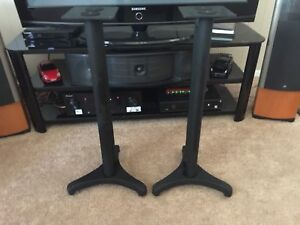 """Metal Speaker Stands w Spikes - 30"""" Inches - Very Good Condition !"""