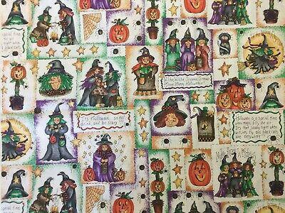 Halloween Witch Witches in Boxes Pumpkins Spiders Frogs Marcus Bros Fabric BTHY](Pumpkins Halloween Witch)