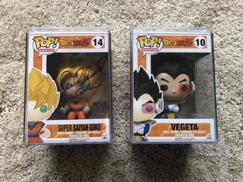 Funko Pop! Dragon Ball Z lot-Goku(signed by Sean Schemmel) and Vageta!