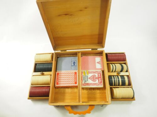 Antique Poker chip and Card Set Fruitwood inlaid Bakelite Handle case