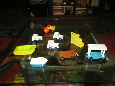 Vintage Fisher Price Little People Pieces Boat s Tractor Mail truck Zoo Train