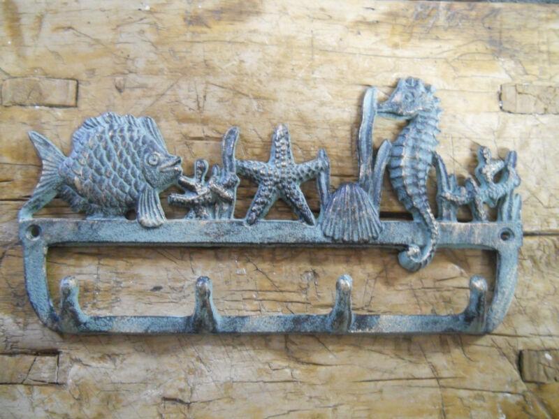 Cast Iron NAUTICAL Towel Coat Hooks Hat Hook Key Rack SEAHORSE, STARFISH, FISH
