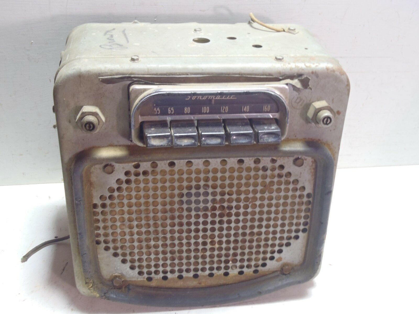 Vintage Tube Car Radio For Parts Repair w/ Built-In Speaker Sonomatic Buick