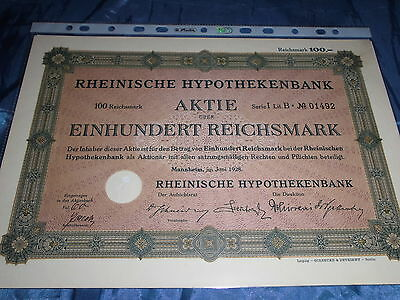 30 :histor.Wertpapier/Aktie : Rheinische Hypothekenbank , Mannheim 1928 ,100 RM