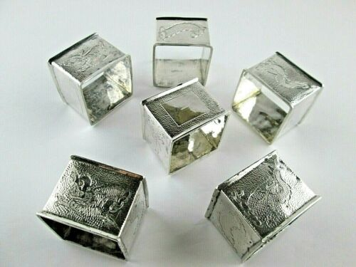 Chinese Square Napkin Rings 6 Coin Silver Chased Designs