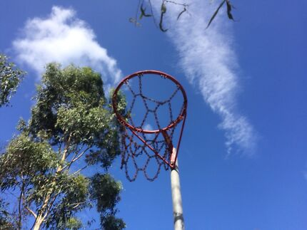 Netball ring and post - sturdy galvanised with wheels