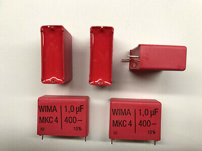 5 x WIMA Polypropylen Folienkondensator Kondensator MKC-4 400V 1uF 27,5mm  NOS