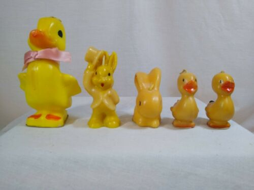 Vintage Lot of 5 - Gurley / Tavern Candles Easter Rabbits & Ducks