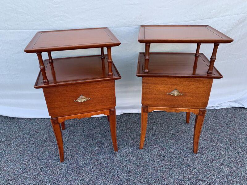 Vintage Antique Mahogany Wood Art Deco End Side Tables McM Nightstands