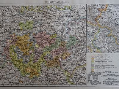 Victorian Map 1896 of GERMANY - THURINGIAN STATES The Times Atlas 1st Gen