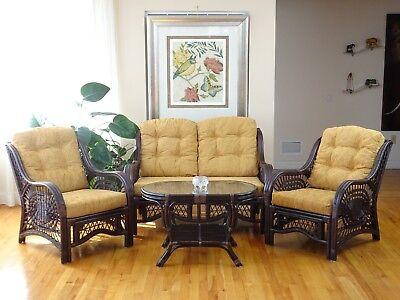 Living Malibu Set of 2 Lounge Chairs Loveseat Coffee Table w/Glass, Dark Brown Dining Room Set Loveseat