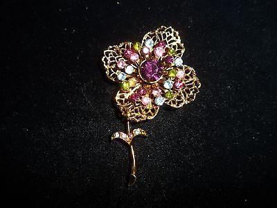 Flower Purple Pink Blue Gold Tone Pin Brooch Rhinestone Genuine Crystal Vintage