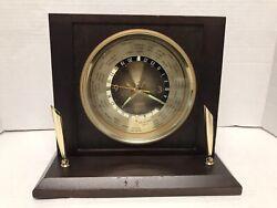 Bulova Vintage World Clock Wooden Wood Desk Pen Holder Used (A14)