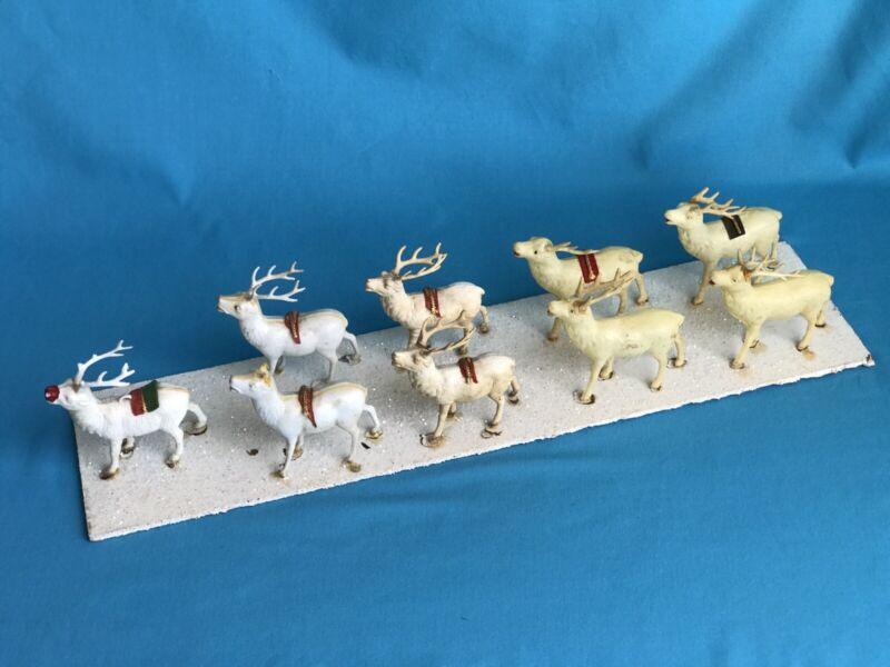 Vintage Celluloid Reindeer Figures Glitter Snow Christmas Display Village Scene