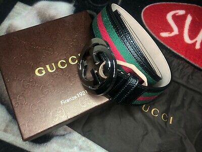 Gucci 114984 GG Leather/Canvas Belt Green/Red/Blk Size 95