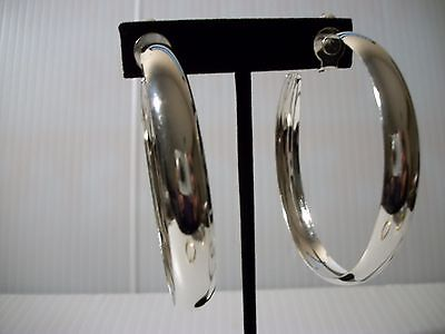 "2.25"" silver thick rim hoops clip on earrings non pierced"