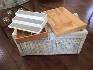 Storage Items - Drawer Organizers, Wicker Trunk + Spice Shelf