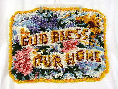 GOD BLESS OUR HOME 26 x 19 Completed Handmade Latch Hook Rug Art Wall Hanging