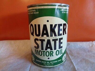 Quaker State Motor Oil Quart Steel Metal Can - Original -Vintage - Gas