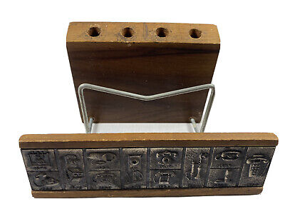 Vintage Bell System Telephone Co Wooden Business Card Pencil Holder