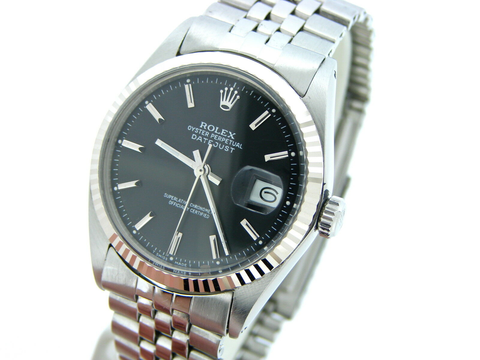 Mens Rolex Stainless Steel/18K White Gold Datejust Black w/Jubilee Band 1601