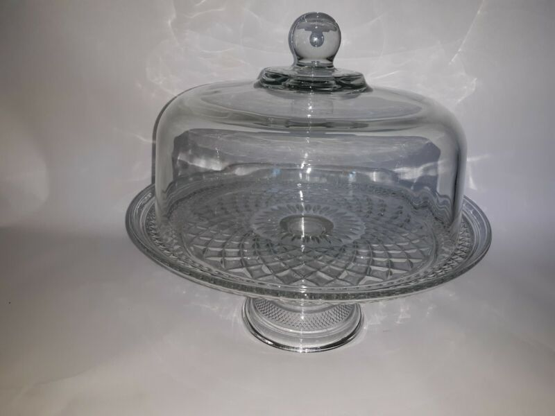 VTG ANCHOR HOCKING WEXFORD CAKE STAND w/COVER MINT CONDITION !!!!