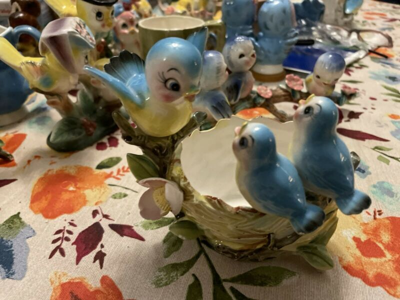 Vintage Norcrest Lefton Bluebirds Tree Stump Planter/ Vase Mama Bird&Baby 1950