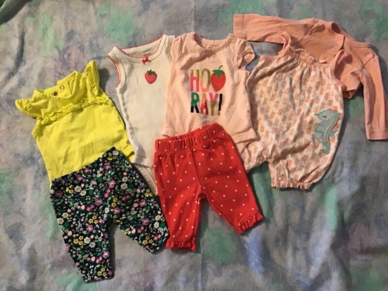 Carters Nb Girls Summer 7 Piece- 3 Bodysuits, 1 Romper, 3 Pant, 1 Long Sleeve