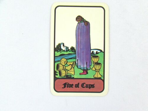 Vintage 1972 Hoi Polloi Tarot *Single Replacement Card* Five of Cups