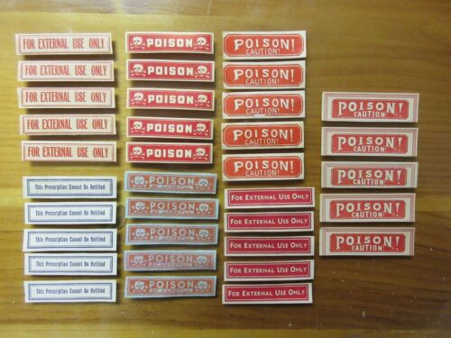 35-OLD POISON AND PHARMACY-APOTHECARY-DRUG STORE  MEDICINE BOTTLE LABEL LOT=
