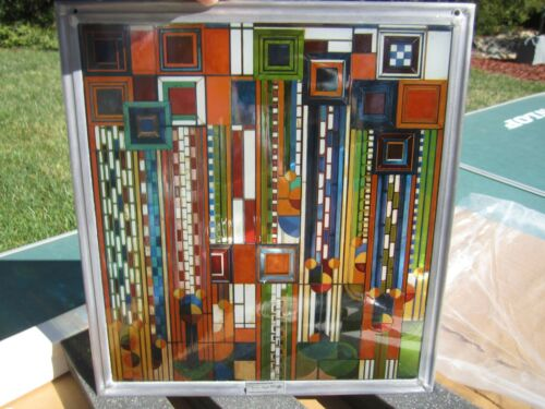 """Frank Lloyd Wright Collection~Hanging Stained Glass Window~Saguaro Forms 11x12"""""""