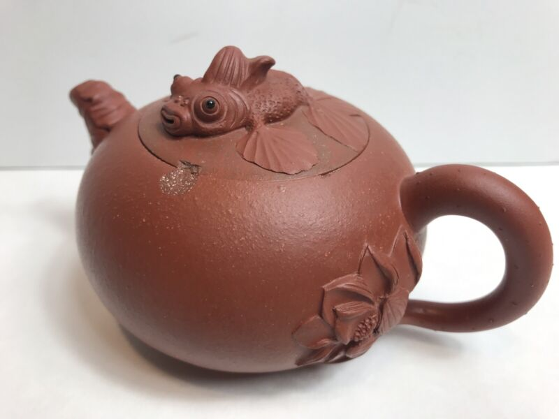 Vintage Yixing Brown Clay Koi Fish Lid & Lotus Flower Handle Teapot Marked