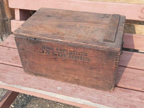 Antique hinged trojan dynamite powder box mining