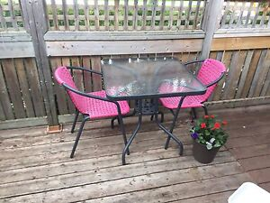 Two chair + table patio set