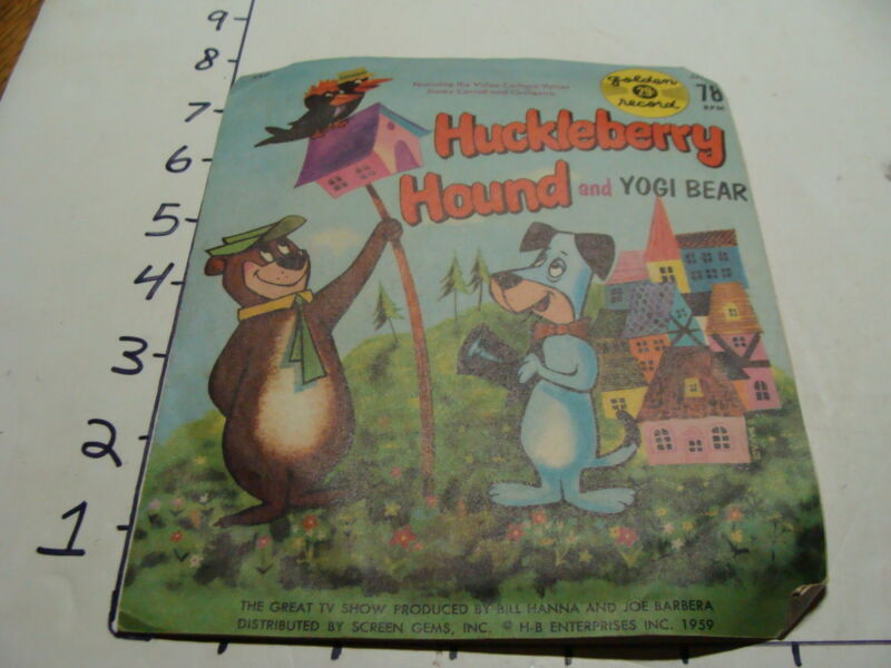 Vintage Childrens Record--1959 HUCKLEBERRY HOUND and YOGI BEAR in sleeve