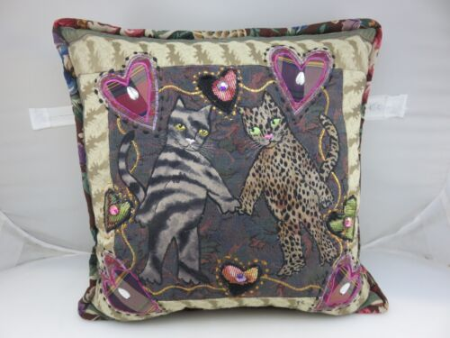 HEARTS LOVE CATS FRIENDSHIP Embroidered Pillow With Crystals HANDMADE by PS