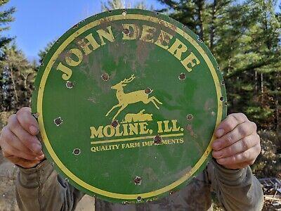 OLD VINTAGE 1950'S JOHN DEERE PORCELAIN ENAMEL SIGN FARM TRACTOR MOLINE ILL.