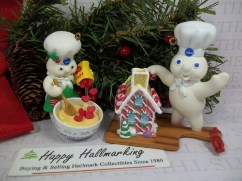Hallmark Pillsbury Doughboy Ornament Lot of 2 1997 LOVE 1998 Gingerbread House