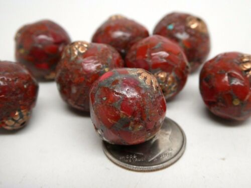 Vintage Tibetan 16mm Red Coral Inlaid Mosaic Bronze Round  Loose Bead Component