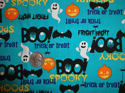 Spooky Turquoise Blue Halloween Cotton Quilting Fabric JoAnn 32