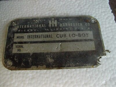1967 International Cub Low Boy Tractor Original Ih Serial Number Tag 23441j
