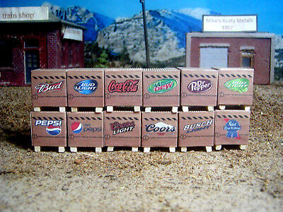 Pallets of beer and soda set of 12   1/64, S Gauge  farm toy, ertl, dcp, semi