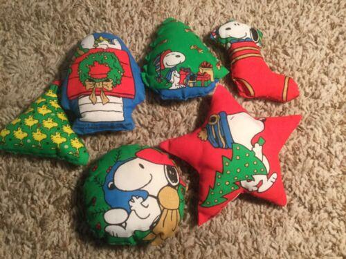 6 Vintage Handmade sewn Stuffed Fabric Snoopy Christmas Ornaments
