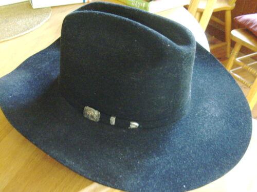 """Black Stetson cowboy hat, Size 7 3/8, 3X Buffalo felt, 4 1/2"""" brim, American Col"""