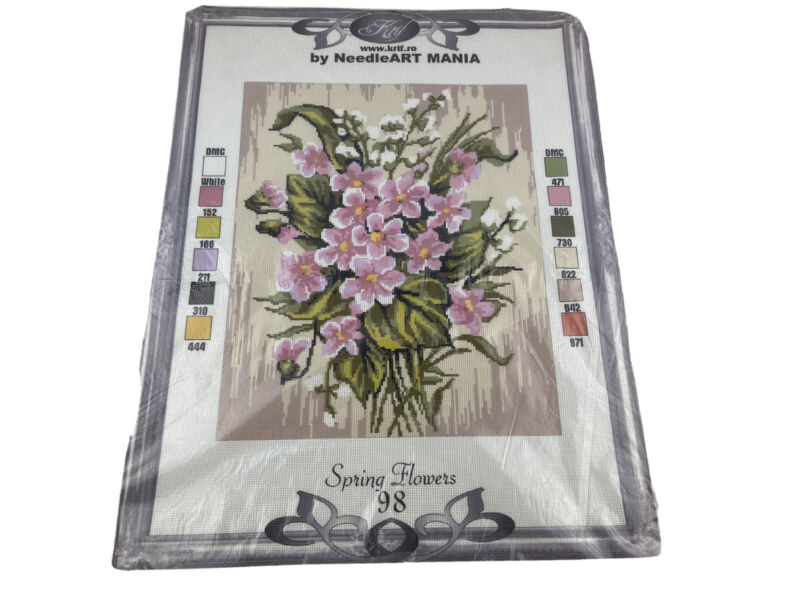"""Krif Spring Flowers Needlepoint Canvas Needleart Mania 12.5"""" By 15.5"""" Pink"""