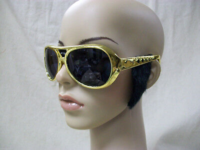 Gold Elvis Style Costume Glasses w/ Black Sideburns Rockstar King Rock 50s 60s