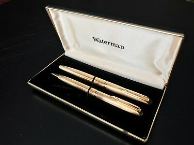 VINTAGE WATERMAN OR 18 Cts GOLD SET OF TWO PENS Fountain/Rollerball w/ documents