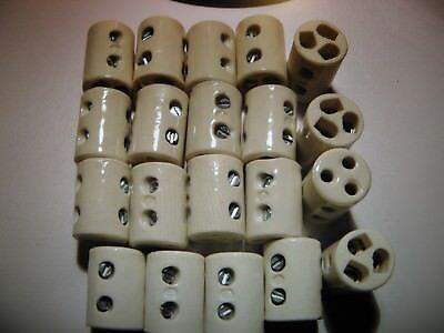 20 x  Keramik Porzellan Kabelklemme Lüsterklemme Klemme Schraubleiste  3 Polig