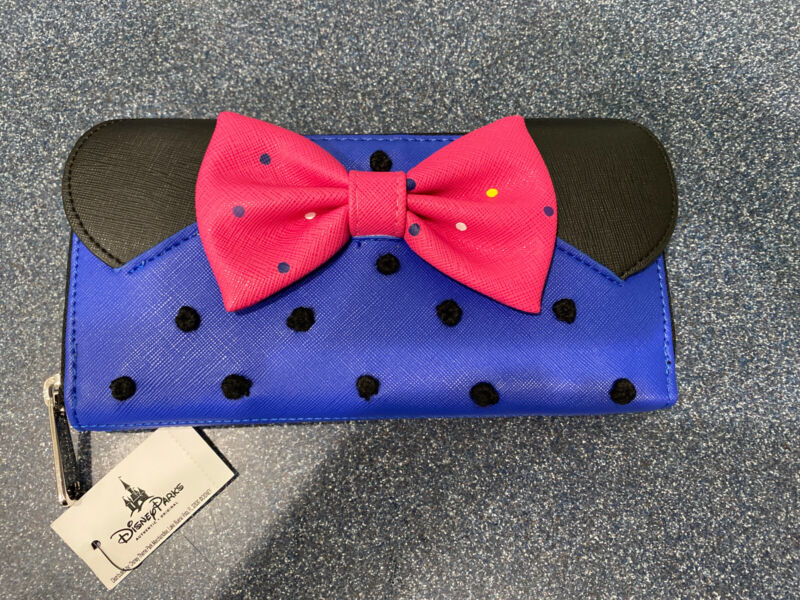 NWT Disney Parks Loungefly Blue Rock The Dots Minnie Mouse Wallet