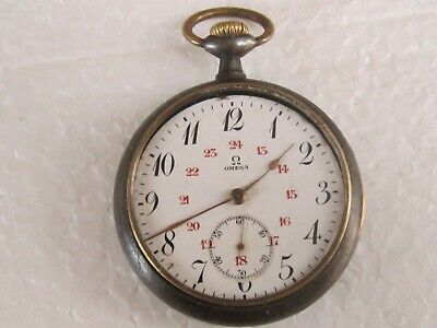 Antique Gunmetal Case Military Type Swiss Pocket Watch OMEGA - TO RESTORE